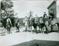 Riders on horseback at Skyline Farm, ca. 1960