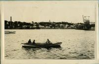 """Ship """"Tremblay"""" on the Saco River, ca. 1917"""