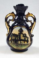 Porcelain Blue Vase with picture of Guilford High School, ca. 1920