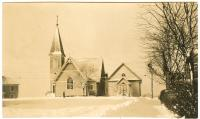 Church buildings in snow, Lubec, ca. 1940