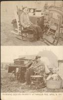 Guarding rescued property at Bangor Fire, April 30, 1911