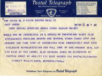 Request for Shep Hurd on stage, Bangor, October 14, 1937
