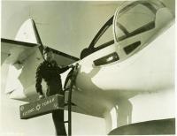 Captain Gordon poses with the 'Flying Torah,' Bangor, 1945