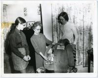 Ernestine Gagne and grandchildren, Lewiston, ca. 1972
