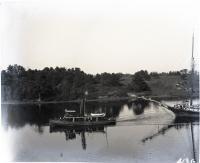 "Tug ""Joseph W. Baker"" towing schooner up Saco River, ca. 1910"