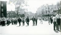 Boys on Main Street during City Centennial parade, Biddeford, 1955