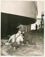 Sardine carrier Mary Anne launch prep, Thomaston, 1947