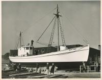 Sardine carrier Mary Anne under construction, Thomaston, 1947
