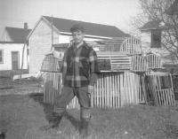 Bruce Thurlow with lobster traps, Scarborough, ca. 1953