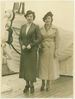 Sadye and Harriett Waterman on ship, 1936