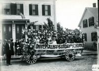 Universalist Church float, Biddeford, 1916