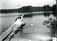 Girls feeding ducks, Biddeford, 1909