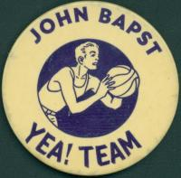 John Bapst High School basketball Booster button, Bangor, ca. 1950