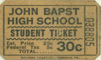 John Bapst High School Lunch Ticket, Bangor, 1962