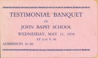 Testimonial Banquet ticket, Bangor, 1939