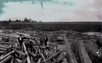 Log jam at Aroostook River Bridge, Ashland, 1894