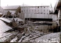 South Channel dam undergoing repairs, Skowhegan, ca. 1900