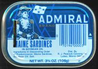 Admiral brand sardine can, Lubec, ca. 1973
