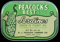 Peacock's Best brand sardine can, Lubec, pre-1963