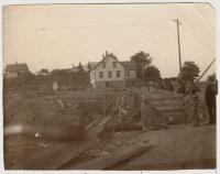House above canal bridge, Lubec, ca. 1898