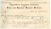 Receipt, Columbian Canning Co., Lubec, 1918