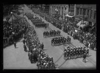 "USS ""Utah"" crew members marching, Portland, 1920"