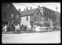Maine Centennial parade, Dawn of Discovery float, Portland, 1920