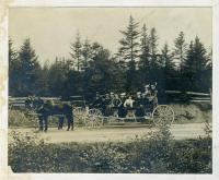 Charlie Scott's buckboard on the way to camp meeting, Lubec, 1890