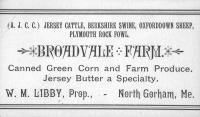 Broadvale Farm card, North Gorham, ca. 1880