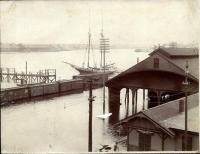Train station and waterfront, Bangor flood, 1902