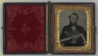 Craftsman holding tools, ca. 1860
