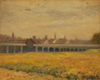 O'Neil painting of Portland bridge, 1918