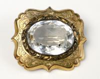 Gold and crystal pin, ca. 1880