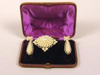 Seed pearl earrings and brooch, ca. 1865
