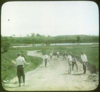 Orphans doing road work, Hinckley, ca. 1920