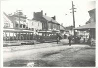 Trolleys on Main Street, Saco, ca. 1920