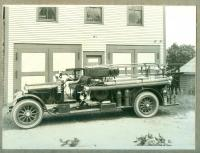 Fire truck and house, Lubec, ca. 1931