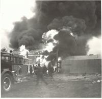 Fire fighters at the Richfield Oil Fire, Saco, 1953