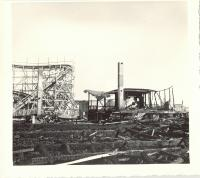Damaged roller coaster from Old Orchard fire, Old Orchard Beach, 1948