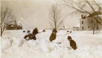 Good Will Boys building a snow fort, Fairfield, ca. 1935