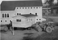 RED-E-BILT Camp being loaded for delivery, Strong, ca. 1959