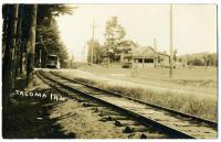 A trolley car at the Tacoma Inn, Lewiston, ca. 1910