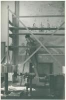 Mildred Burrage working on mural, Bryn Mawr, ca. 1940
