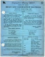 Holy Ark dedication program, Portland, 1949