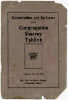 Shaarey Tphiloh Constitution and Bylaws, Portland, ca. 1920