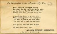 Synagogue tea invitation, Portland, 1948