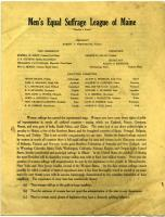 Men's Equal Suffrage League of Maine brochure
