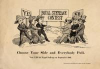 Equal suffrage contest political cartoon, ca. 1917
