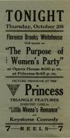 Florence Brooks Whitehouse speech poster, 1916