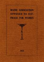 Bylaws, Maine Association Opposed to Suffrage for Women, 1914